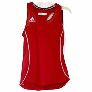 ADIDAS Red & White Climacool Compression Tank Top